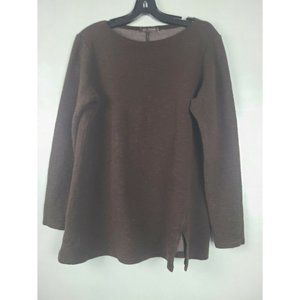 Cut Loose Brown Textured Knit Round Neck Top SZ L